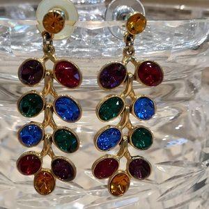 Beautiful vintage colored crystal earrings